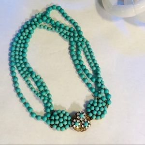 TURQUOISE COLOR BEADED NECKLACE | RARE VINTAGE